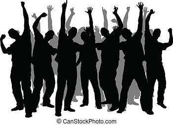 Enthusiasm Crowd - A crowd silhouette of enthusiastic men.