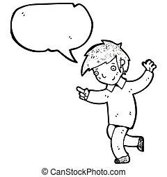 enthusiastic boy cartoon