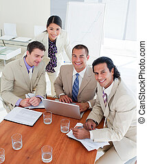 Enthusiastic business team having a brainstorming