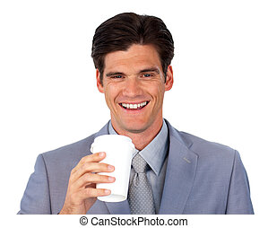 Enthusiastic businessman drinking a coffee