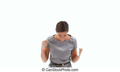 Enthusiastic businesswoman against a white background