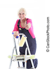 Enthusiastic decorator on a ladder