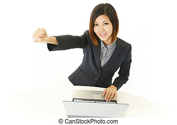 Enthusiastic female office worker