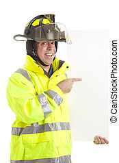 Enthusiastic Firefighter with Sign