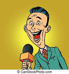enthusiastic joyful reporter correspondent journalist male....