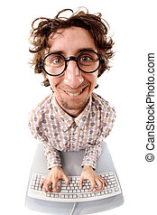 Enthusiastic office worker - Fish-eye shot of a smiling...