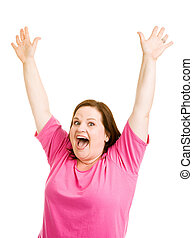 Enthusiastic - Pretty plus sized model raising her arms...