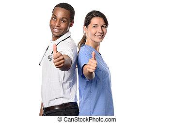 Enthusiastic successful multiethnic medical team