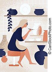 Enthusiastic woman decorating pot working at ceramic studio vector flat illustration. Smiling female enjoying creative hobby at pottery workshop. Ceramist person painting handmade crockery use brush.