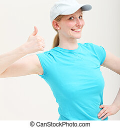 Enthusiastic woman giving thumbs up