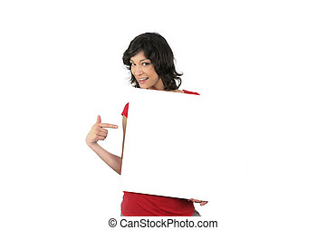 Enthusiastic woman pointing to a blank sign