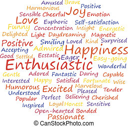 enthusiastic word cloud concept. Vector illustration.