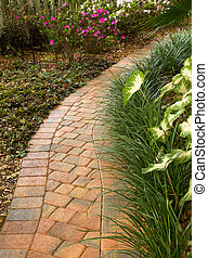 enticing curved garden path