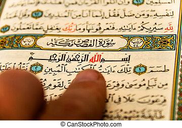 entier, allah, -, coran, qoran, qur'an, noms, feuilles