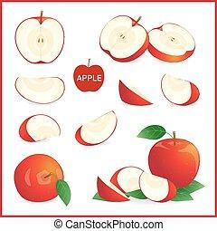 entier, ensemble, pomme, format, isolé, morceaux, vecteur, couper, moitié, blanc rouge