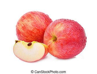 entier, et, couper, de, frais, gala, pomme rouge, à, goutte...