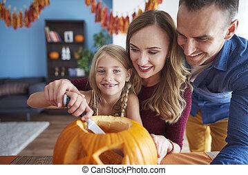 entier, halloween, forage, famille, citrouille