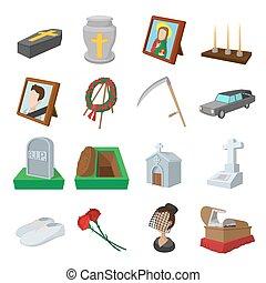 entierro, funeral, caricatura, iconos