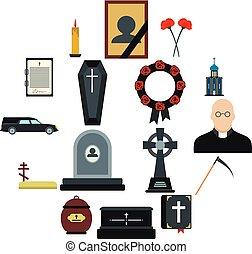 entierro, funeral, plano, iconos