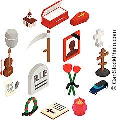 entierro, isométrico, 3d, funeral, iconos
