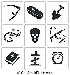entierro, muerte, colección, icono