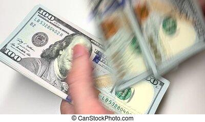 entiers, 100, dénombrement, footage., vidéo, dollars, ...