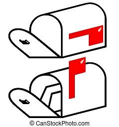 entiers, 3d, boîte lettres vide