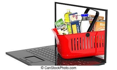 entiers, achats, isolé, main, produits, panier, ordinateur portable