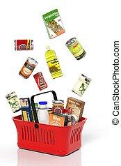 entiers, achats, isolé, produits, panier, blanc