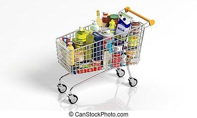 entiers, achats, isolé, supermarché, produits, charrette, fond, blanc