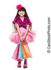 entiers, achats, longueur, portrait, girl, heureux