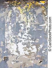 entiers, affiche, cadre, déchiré, métal, surface, lambeaux, couvert