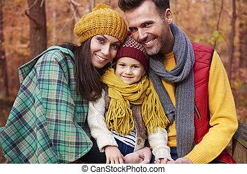 entiers, amour, famille, saison, automne, heureux