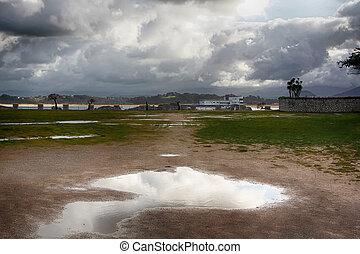 entiers, après, parc, flaques eau, orage, front mer