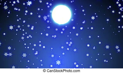 entiers, automne, flocon, bas, neige, lune