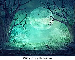 entiers, bois,  Spooky, lune, forêt,  table
