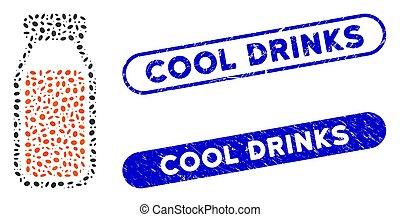 entiers, boissons, collage, ellipse, détresse, bouteille, cachets, frais