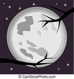 entiers, branches, arbre, contre, lune, stars., noir, landscape:, nuit
