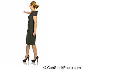 entiers, business, longueur, femme, vue postérieure