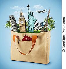 entiers, célèbre, illustration, sac, voyager, monument, passport.
