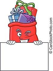 entiers, cadeau, dessin animé, santa, caractère, style,...