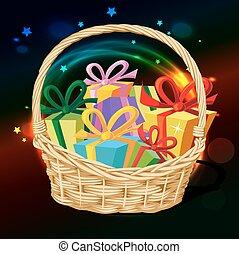 entiers, cadeau, -, vecteur, panier, illust