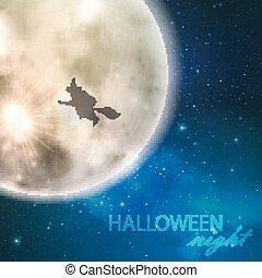 entiers, ciel, halloween, illustration, lune, vecteur, sorcière, fond, nuit