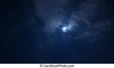 entiers, ciel, lune, nuit