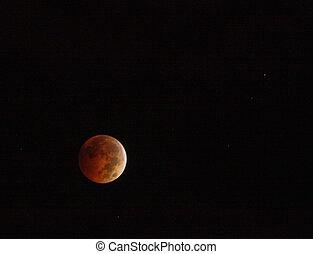 entiers, ciel, lune, sombre, nuit, rouges