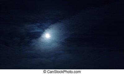 entiers, ciel, nuageux, lune, sombre, nuit