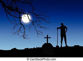 entiers, cimetière, moon., vecteur, creuser, tombe, homme