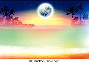 entiers, coloré, arbres, lune, plage paume
