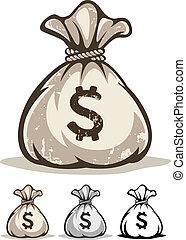 entiers, contour, argent, dollars, sac, dessin