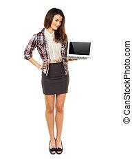 entiers, copyspace, projection, laptop's, longueur, femme, écran